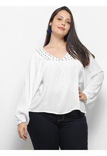 Blusa Fiya Manga Longa Tachas Plus Size Feminina - Feminino-Branco