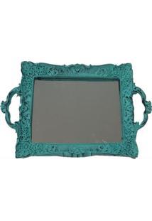 Bandeja Espelhada Decorativa Retangular 20X35Cm Patina Azul - Amarelo - Dafiti