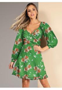 Vestido Floral Verde Com Babados Na Barra