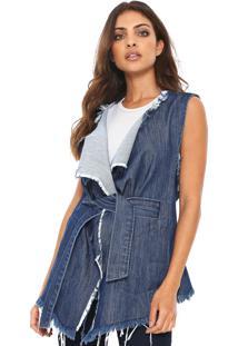 Colete Jeans Denuncia Desfiado Azul