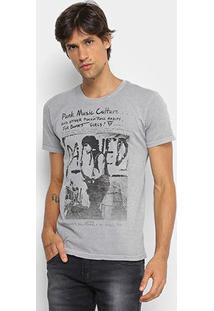 Camiseta Opera Rock Estonada Estampa Punk Rock Masculina - Masculino-Cinza