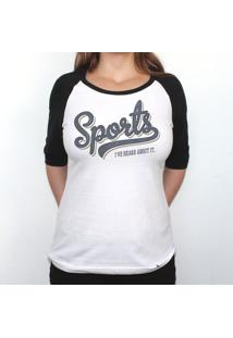 Sports - Camiseta Raglan Manga Longa Feminina