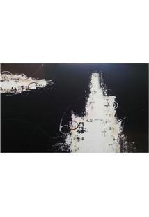 Quadro Artesanal Preto Abstrato Manchas 70X120Cm
