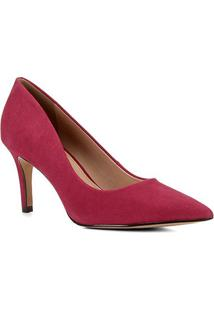 Scarpin Couro Shoestock Salto Médio Nobuck - Feminino-Rosa