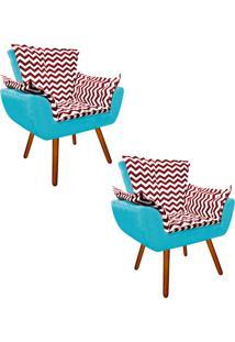 Kit 02 Poltrona Decorativa Opala Suede Composê Estampado Zig Zag Vermelho D79 E Suede Azul Tiffany - D'Rossi