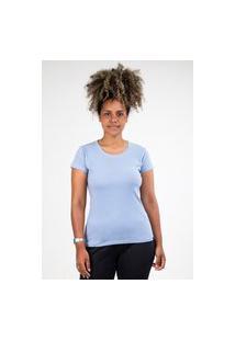 Camiseta Meio Swag Básica Gola Redonda Azul Claro