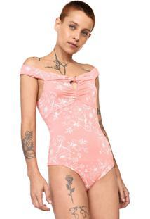 Body Hang Loose Ombro A Ombro Floral Rosa/Branco - Kanui
