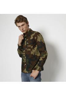 Camisa Camuflada Com Bolso- Verde Militar & Marromlevis