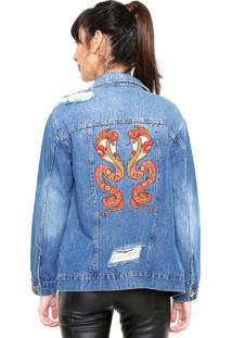 Jaqueta Jeans Colcci Bordada Azul
