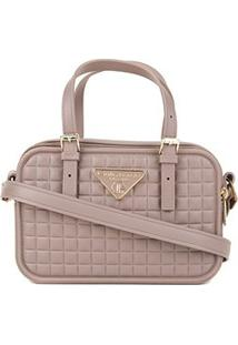 Bolsa Giulia Bardô Transversal Quadriculada Mini Bag Feminina - Feminino-Cinza