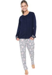 Pijama Pzama Estampado Azul-Marinho/Branco