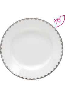 Jogo De Pratos De Sopa Minsk- Branco & Prateado- 6Pçwolff