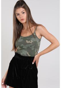 Regata Feminina Básica Estampada Camuflada Com Alça Fina Verde Militar