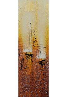 Quadro Artesanal Com Textura Abstrato Amarelo 20X60Cm Uniart