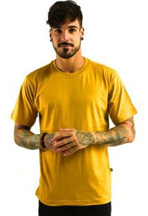 Camiseta Rich Young Básica Gola Careca Lisa Amarelo Escuro