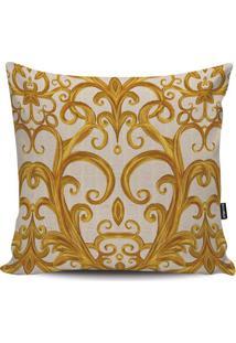 Capa Para Almofada Arabescos- Bege Claro & Dourada- Stm Home