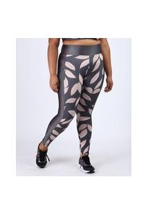 Calça Legging Feminina Plus Size Esportiva Ace Cintura Alta Estampada De Folhagem Chumbo