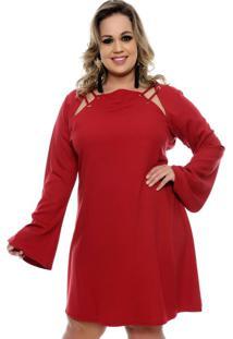 Vestido Ilhós Vermelho Plus Size