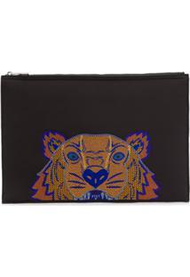 Kenzo Porta-Documentos Emb Tiger Head - Preto