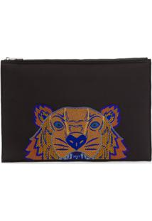 Kenzo Porta-Documentos Emb Tiger Head - Preto