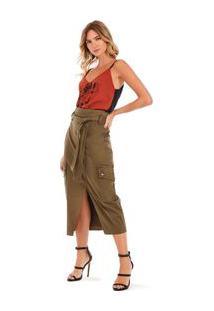 Blusa Decote V Alca Com Silk Preto/Terracota