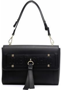 Love Moschino Logo-Detail Shoulder Bag - Preto