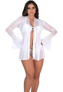 Robe Sensual Em Tule Diário Íntimo Feminino - Feminino-Branco