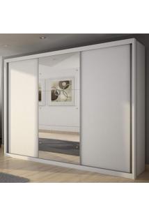 Guarda Roupa Casal Com Espelho 3 Portas 4 Gavetas Paradizzo Plus Novo Horizonte Branco