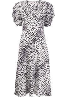 Ermanno Scervino Vestido Midi Com Estampa De Leopardo - Branco