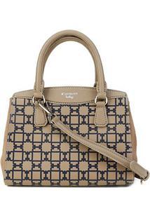Bolsa Couro Carmim Handbag Alça Transversal Feminina - Feminino-Cáqui