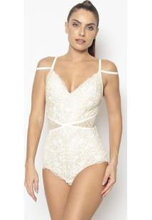 Body Em Renda Com Tiras Cruzadas Com Lycra®- Off White &Valisere