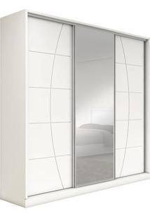 Armário Plinio 3 Portas De Correr Sendo 1 Com Espelho, Padrao - Branco