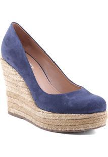 Sapato Anabela Com Sisal- Azul & Bege Claro- Salto: Arezzo & Co.