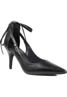 Sapato Feminino Scarpin Lia Line Em Couro Salto Fino Preto