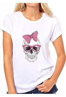 Camiseta Caveira Coolest Laço Feminina - Feminino-Branco