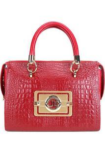Bolsa Couro Jorge Bischoff Handbag Croco Feminina - Feminino-Vermelho