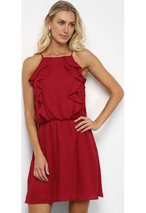 Vestido Drezzup Evasê Curto Babados - Feminino-Vermelho Escuro