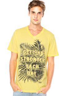 Camiseta Colcci Folhagens Amarela