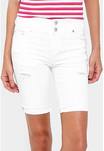 Bermuda Gup'S Jeans Puídos Botão Duplo Feminina - Feminino-Off White