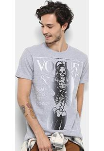 Camiseta Bulldog Fish Vogue Skelleton Masculina - Masculino-Mescla