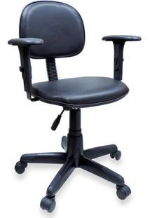 Cadeira Secretária Giratória Em Couro Ecológico Preto Com Braço Digitador