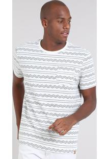 Camiseta Masculina Estampada Geométrica Com Bolso Manga Curta Gola Careca Off White