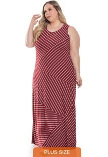 Vestido Feminino Longo Listrado Vermelho