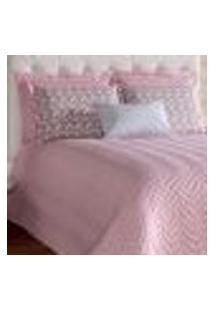 Jogo Cobre Leito Casal Padrão Rose Estampado Chevron Almofada Decorativa 7 Peças