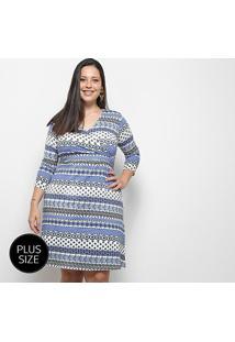 Vestido Blomma Estampando Plus Size Transpassado - Feminino-Estampado