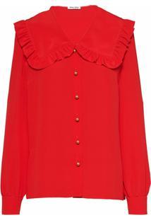 Miu Miu Blusa De Crepe Da China - Vermelho