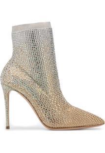 Casadei Ankle Boot Com Aplicação De Cristais - Dourado