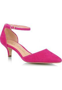 Scarpin Salto Baixo Em Camurça Rosa