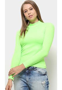Blusa Aura Gola Alta Neon Feminina - Feminino-Verde