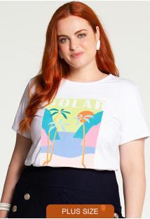T-Shirt Plus Size Meia Malha Solar Branco